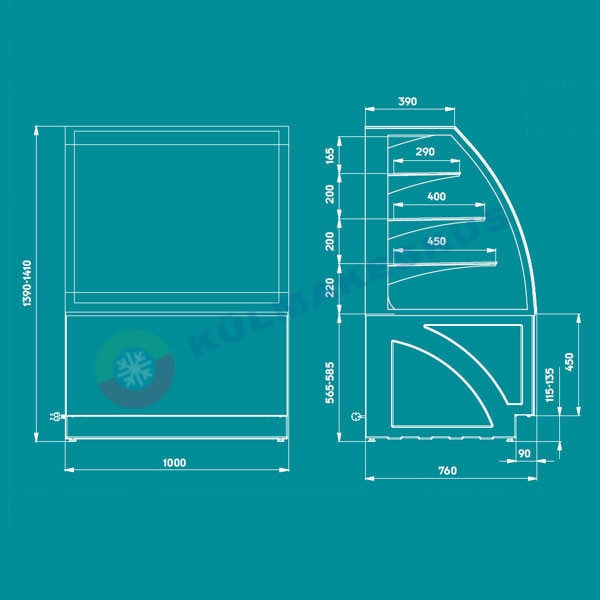 Kondiitrilett ALDAN BASIC, 1.0 m
