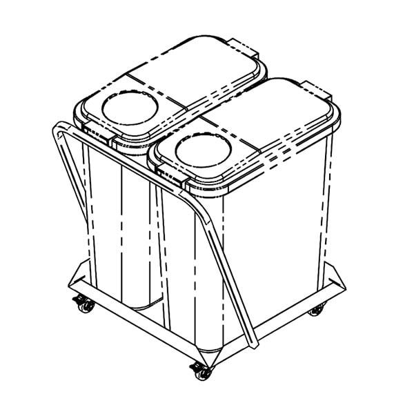 Jäätmenõukäru JNK-2x60/K, 2x60L