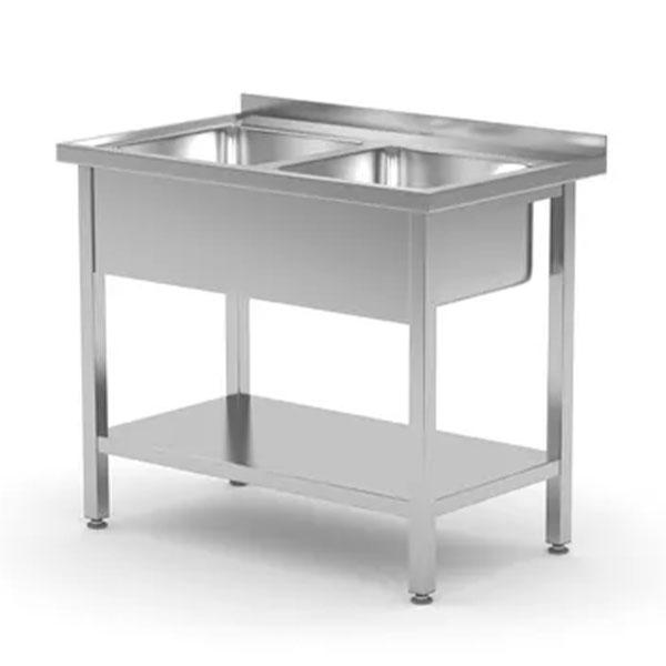 Laud riiuli ja kahe valamuga, keevitatud, sügavus 700 mm, 815588